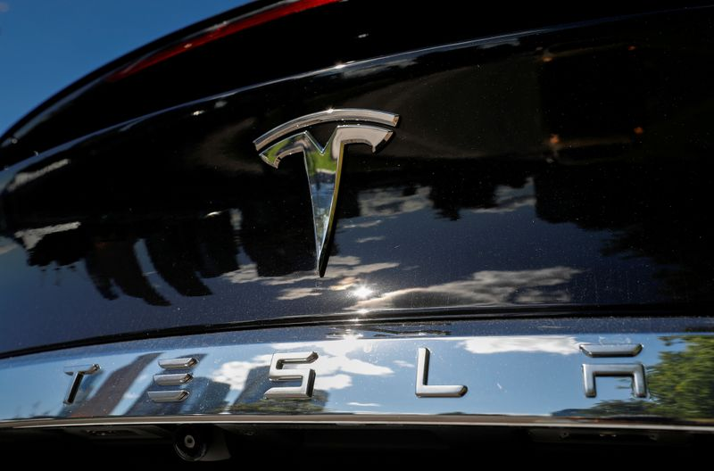 © Reuters. FILE PHOTO: The company logo is pictured on a Tesla Model X electric vehicle in Moscow