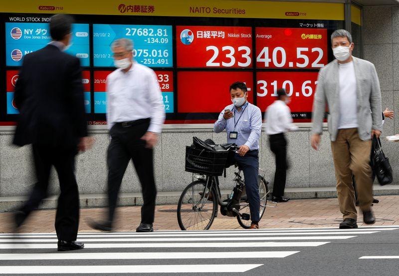 © Reuters. أسهم اليابان تغلق مرتفعة بفضل آمال التحفيز الأمريكي
