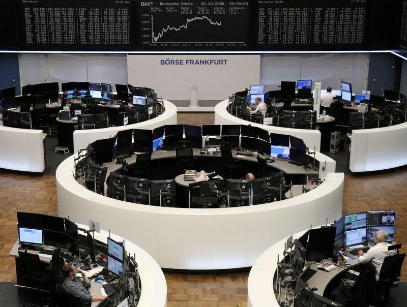 © Reuters. أرباح الشركات تدفع أسهم أوروبا للارتفاع ومخاوف الفيروس تكبح المكاسب