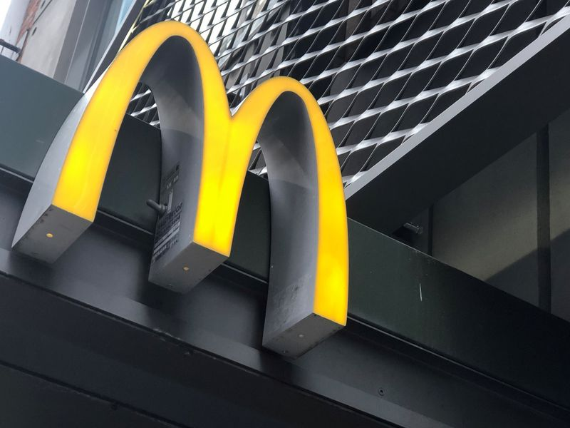 © Reuters. The McDonald's logo is seen outside the fast-food chain McDonald's in New York