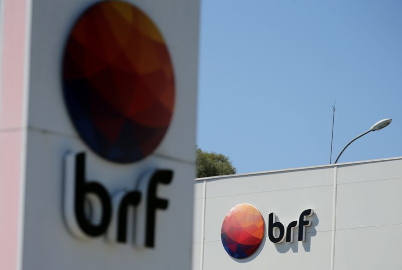 © Reuters. Logos of Brazilian meatpacker BRF SA are seen in the headquarters in Curitiba