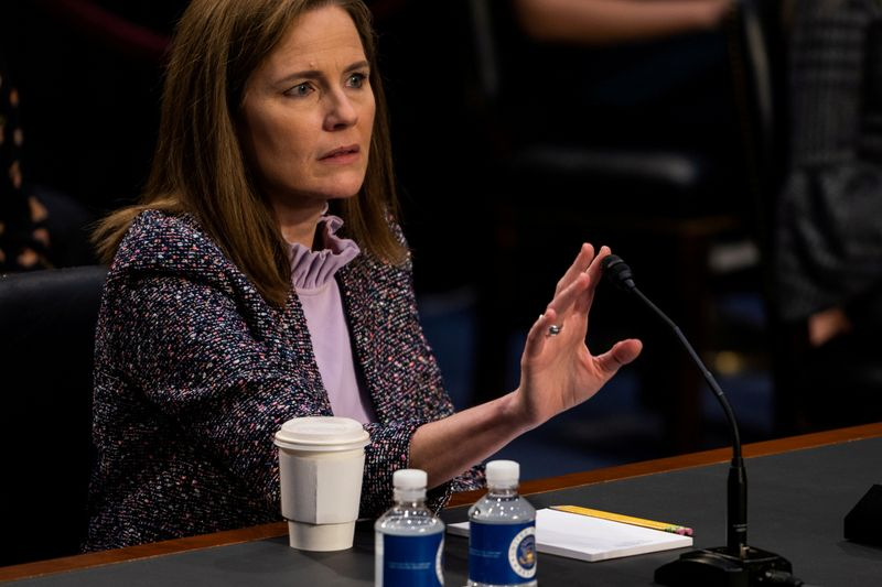 © Reuters. FILE PHOTO: Senate holds confirmation hearing for Amy Coney Barrett to be Supreme Court Justice