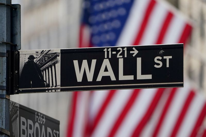 © Reuters. FILE PHOTO: The Wall Street sign is pictured at the New York Stock exchange (NYSE) in the Manhattan borough of New York City
