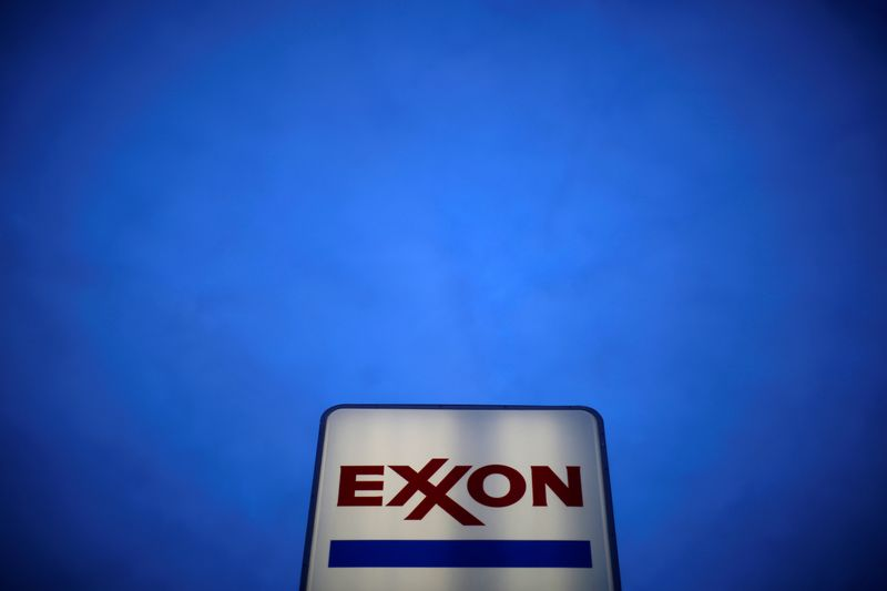 © Reuters. FILE PHOTO: An Exxon sign is seen at a gas station in the Chicago suburb of Norridge