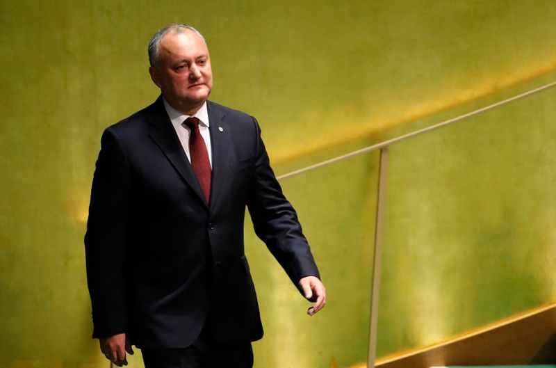 © Reuters. Moldova's President Igor Dodon arrives to address the 74th session of the United Nations General Assembly at U.N. headquarters in New York City, New York, U.S.