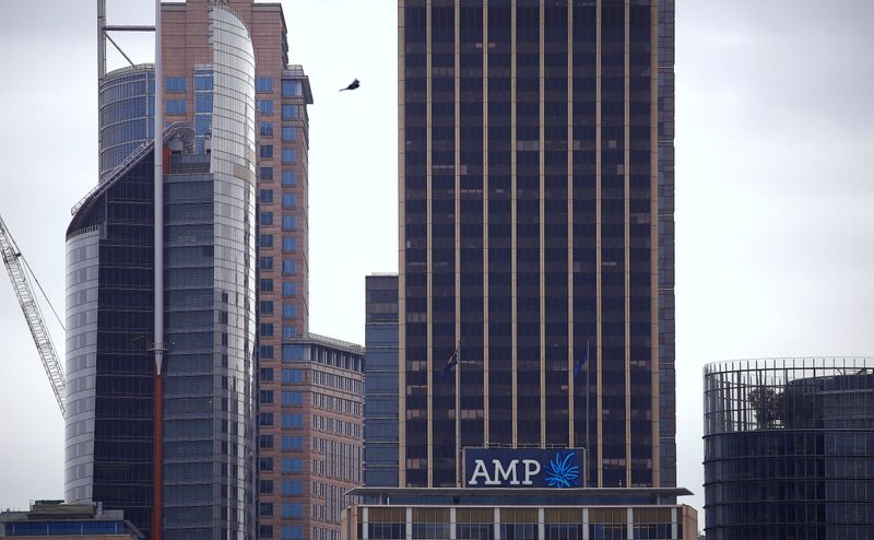 © Reuters. FILE PHOTO: The logo of Australia's biggest wealth manager, AMP Ltd, adorns their head office building in Sydney, Australia