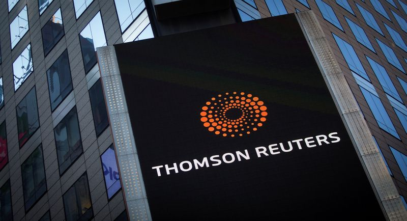 © Reuters. The Thomson Reuters logo on building in Times Square, New York