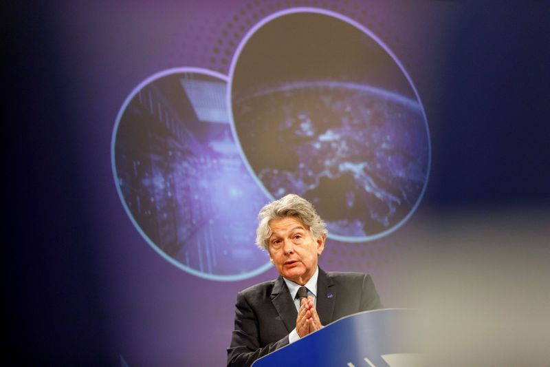 © Reuters. News conference on regulation on high performance computing and connectivity in Brussels