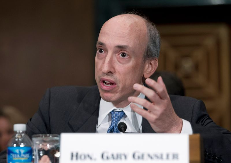 © Reuters. Commodity Futures Trading Commission Chair Gensler testifies at Senate Banking, Housing and Urban Affairs Committee hearing on Capitol Hill