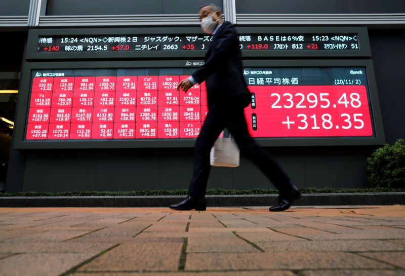 © Reuters.File photo: During a coronavirus disease (COVID-19) outbreak in Tokyo, a man wearing a protective mask walked past a stock quote board outside a broker