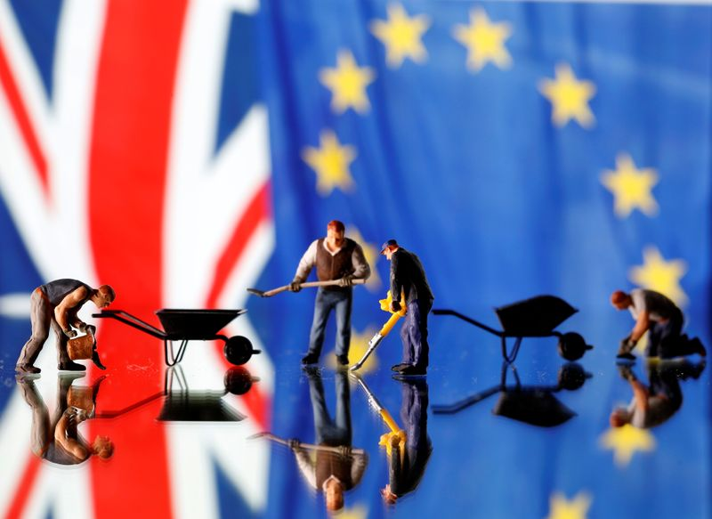 © Reuters. Small toy figures are seen in front of UK and European Union displayed flags in this illustration picture,
