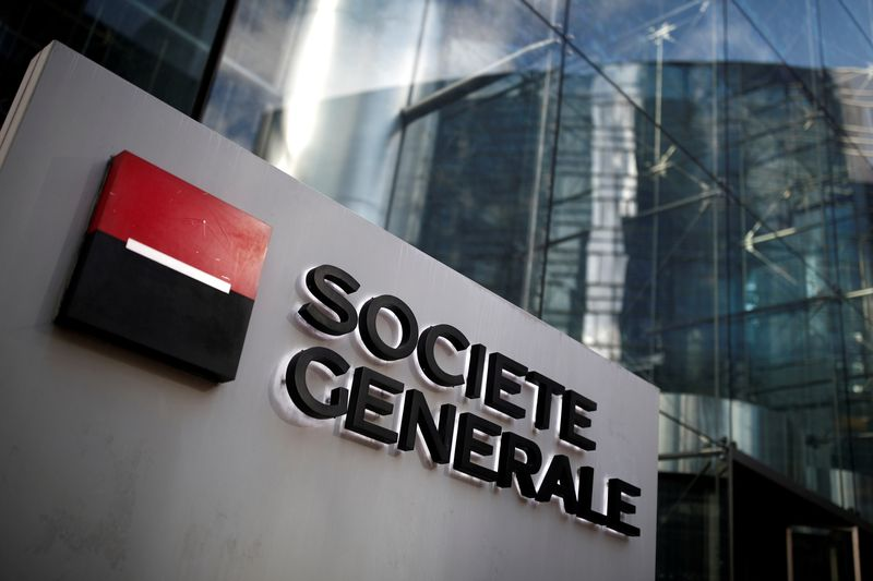 © Reuters. FILE PHOTO: The logo of Societe Generale is seen on the headquarters at the financial and business district of La Defense near Paris