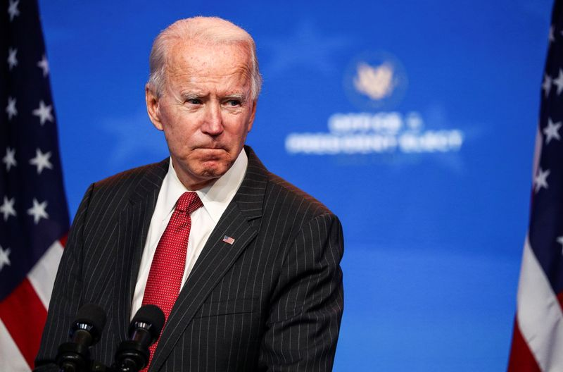 © Reuters. U.S. President-elect Joe Biden speaks after meeting with governors in Wilmington, Delaware