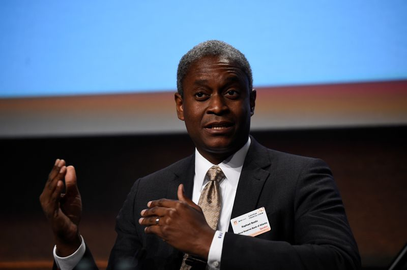 © Reuters. FILE PHOTO: President and Chief Executive Officer of the Federal Reserve Bank of Atlanta Raphael W. Bostic speaks at a European Financial Forum event in Dublin