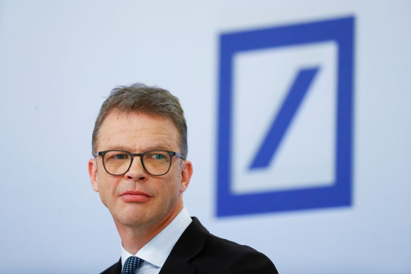© Reuters. Christian Sewing, CEO of Deutsche Bank AG, looks on during the bank's annual news conference in Frankfurt