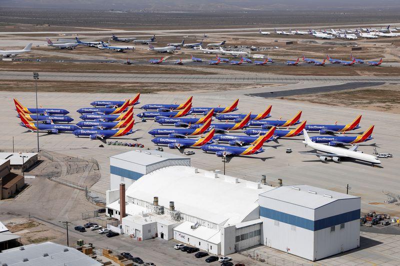 © Reuters. Aviões da Boeing na California