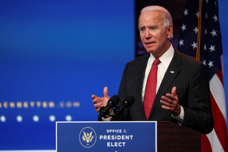 © Reuters. FILE PHOTO: U.S. President-elect Joe Biden speaks after meeting with governors in Wilmington, Delaware