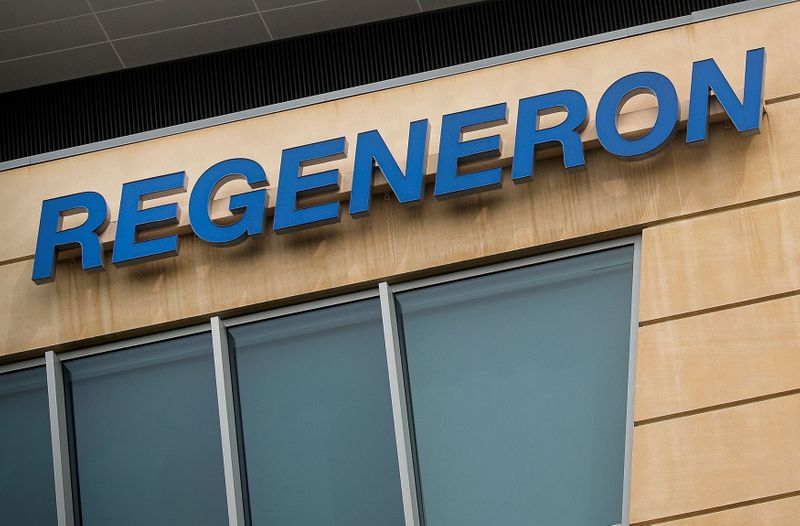 © Reuters. FILE PHOTO: The Regeneron Pharmaceuticals company logo is seen on a building at the company's Westchester campus in Tarrytown, New York