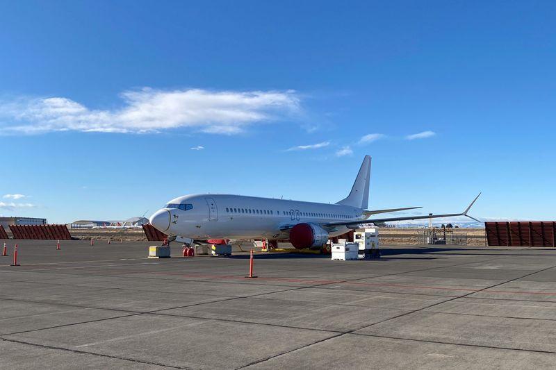 © Reuters. Boeing 737 MAX white tail in Moses Lake, Washington