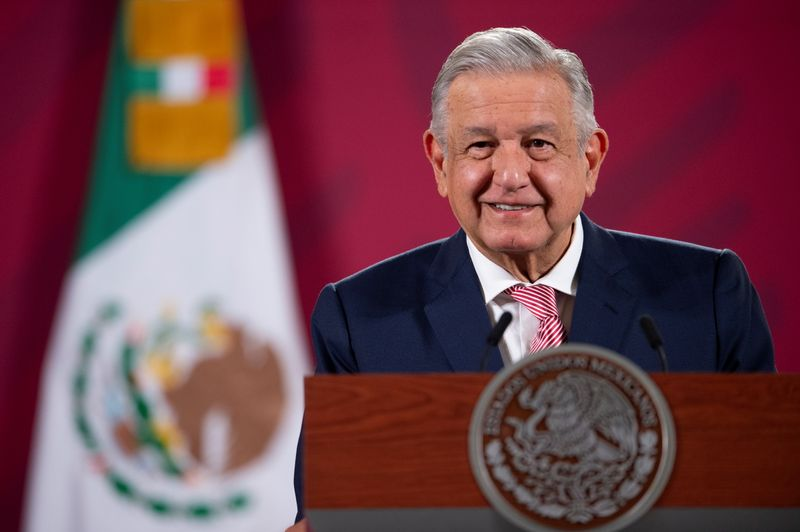 © Reuters. Mexico's President Andres Manuel Lopez Obrador looks on during a news conference at the National Palace in Mexico City