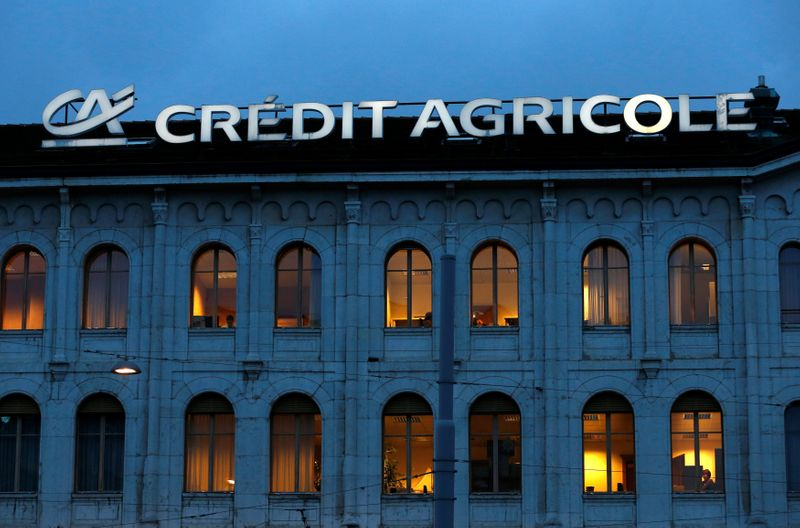 © Reuters. FILE PHOTO: A Credit Agricole sign is pictured on a building of the bank in Geneva