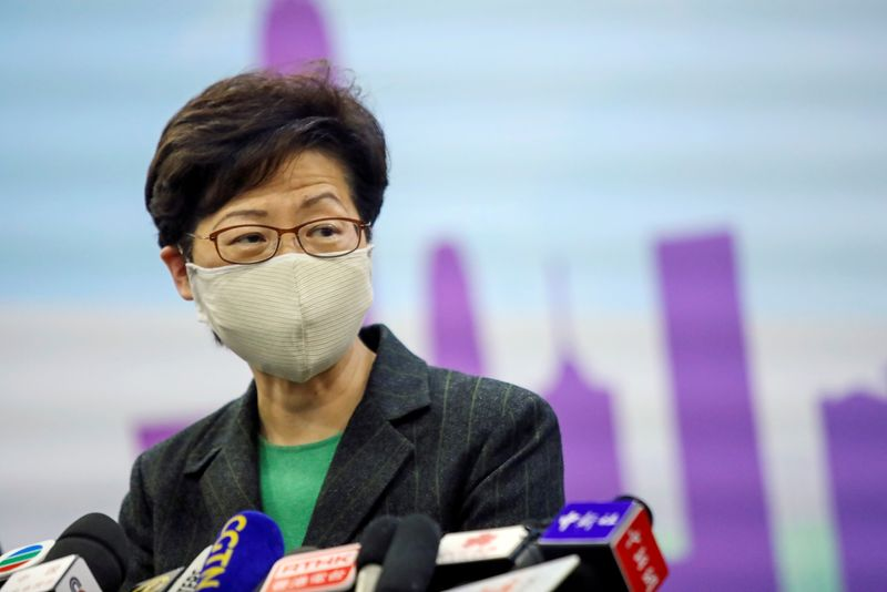 © Reuters. FILE PHOTO: Hong Kong Chief Executive Carrie Lam holds a news conference in Beijing