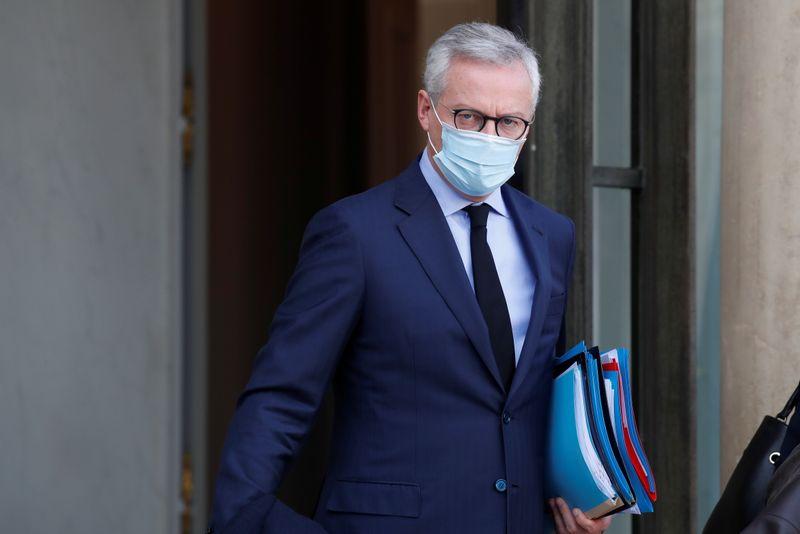 © Reuters. LE DISPOSITIF D'INDEMNISATION DES ENTREPRISES FERMÉES COÛTERA 1,6 MILLIARD D'EUROS PAR MOIS, DIT LE MAIRE