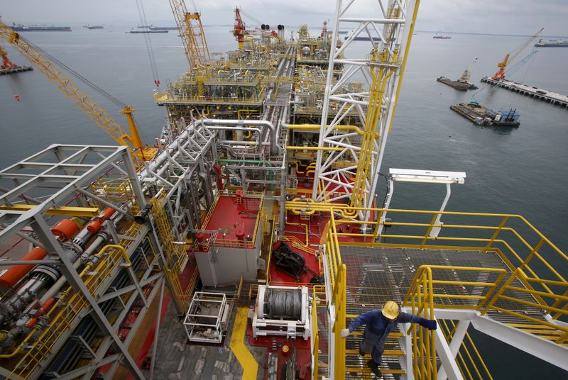 © Reuters. FILE PHOTO: A view of FPSO Prof. John Evans Atta Mills at Sembcorp's Jurong shipyard