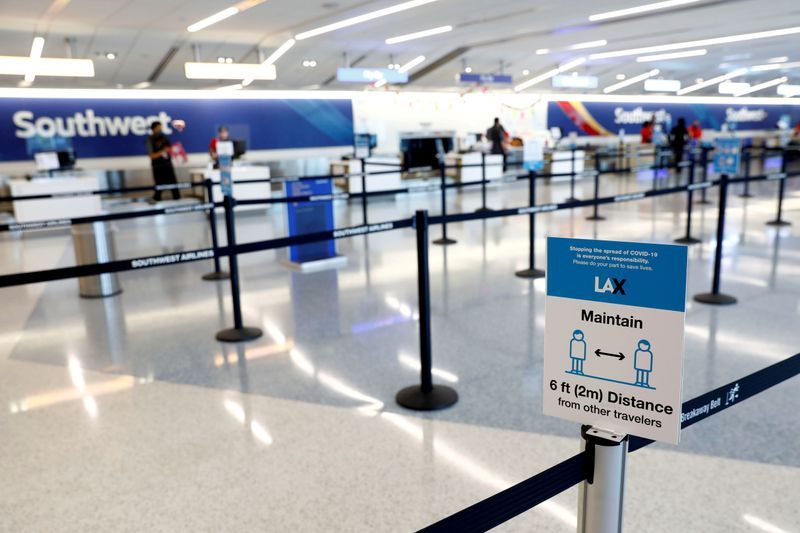 © Reuters. FILE PHOTO: Social distancing sign is displayed at a check-in area for Southwest Airlines Co. at Los Angeles International Airport (LAX) on an unusually empty Memorial Day weekend during the outbreak of the coronavirus disease (COVID-19) in Los Angeles