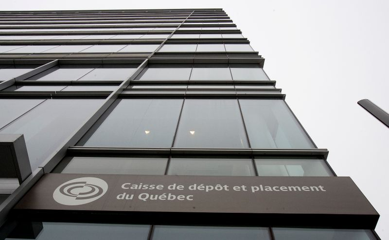 © Reuters. The Caisse de Depot et Placement du Quebec sign shown from their headquarters in downtown Montreal