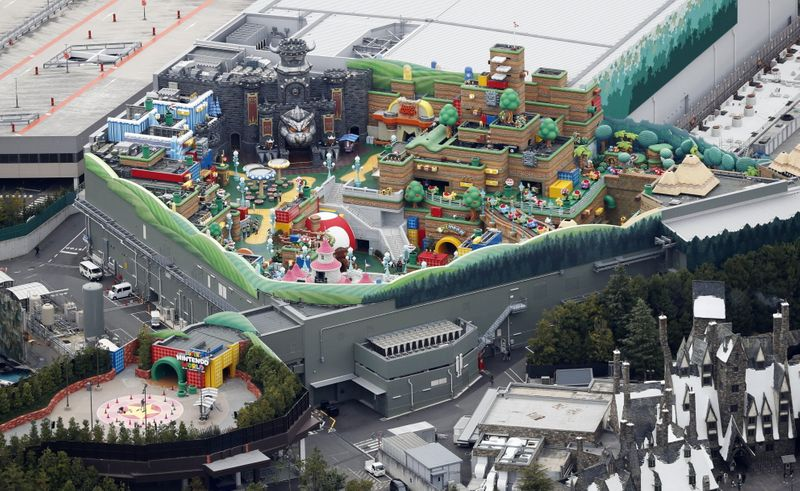 © Reuters. An aerial view shows Super Nintendo World at the Universal Studios Japan theme park in Osaka, western Japan