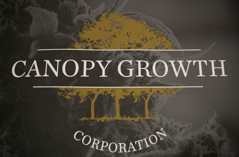 © Reuters. FILE PHOTO: A sign featuring Canopy Growth Corporation's logo is pictured at their facility in Smiths Falls