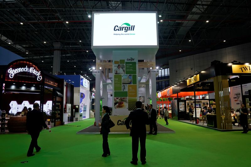 © Reuters. FILE PHOTO: A Cargill sign is seen during the China International Import Expo (CIIE), at the National Exhibition and Convention Center in Shanghai