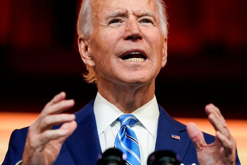 © Reuters. FILE PHOTO: U.S. President-elect Joe Biden delivers pre-Thanksgiving speech at transition headquarters in Wilmington, Delaware