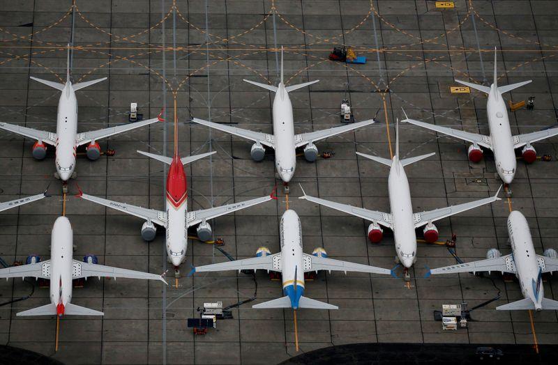 © Reuters. PREMIER VOL D'UN BOEING 737 MAX AVEC LA PRESSE À BORD