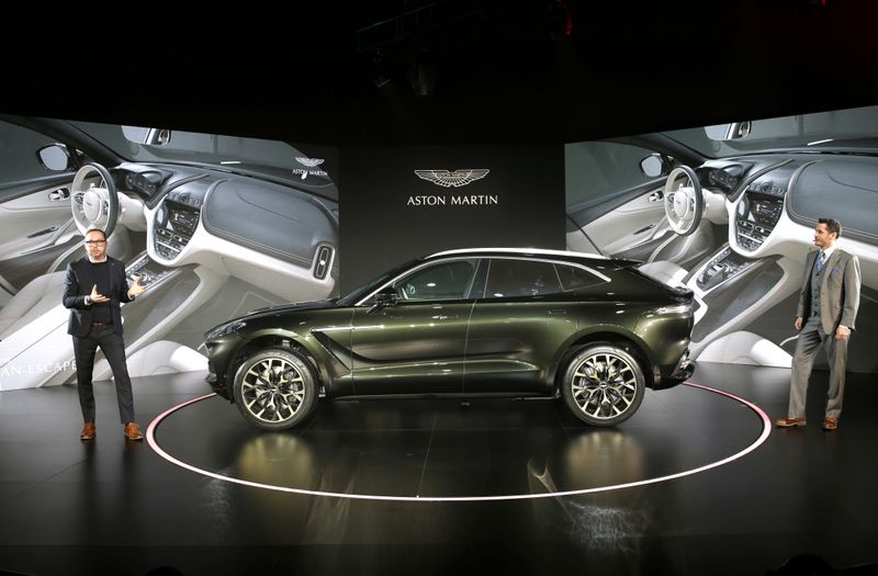 © Reuters. FILE PHOTO: Aston Martin DBX, the company's first sport utility vehicle, is displayed at its global launch ceremony in Beijing