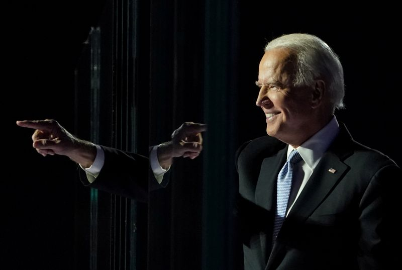 © Reuters. FILE PHOTO: Democratic 2020 U.S. presidential nominee Joe Biden points a finger at his election rally in Wilmington