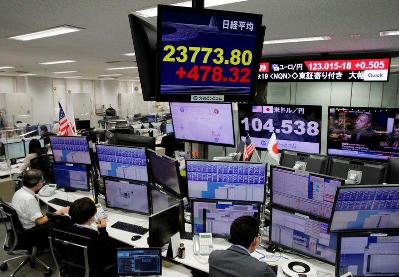 © Reuters. Un monitor mostra l'andamento del Nikkei presso una società di foreign exchange trading a Tokyo