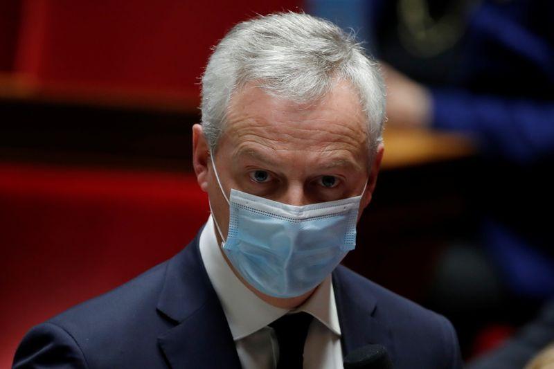 © Reuters. Il ministro delle Finanze francese Bruno Le Maire