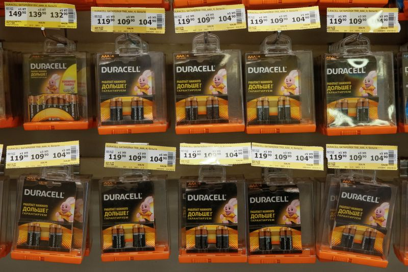 © Reuters. Packs of Duracell batteries are displayed for sale at Metro cash and carry store in Kiev