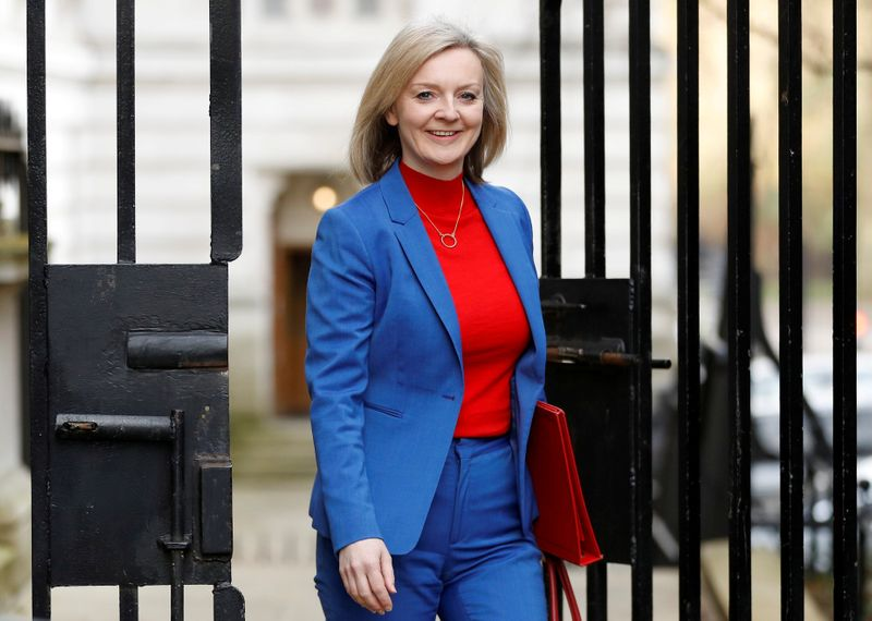 © Reuters. FILE PHOTO: Britain's Secretary of State of International Trade and Minister for Women and Equalities Liz Truss is seen outside Downing Street in London