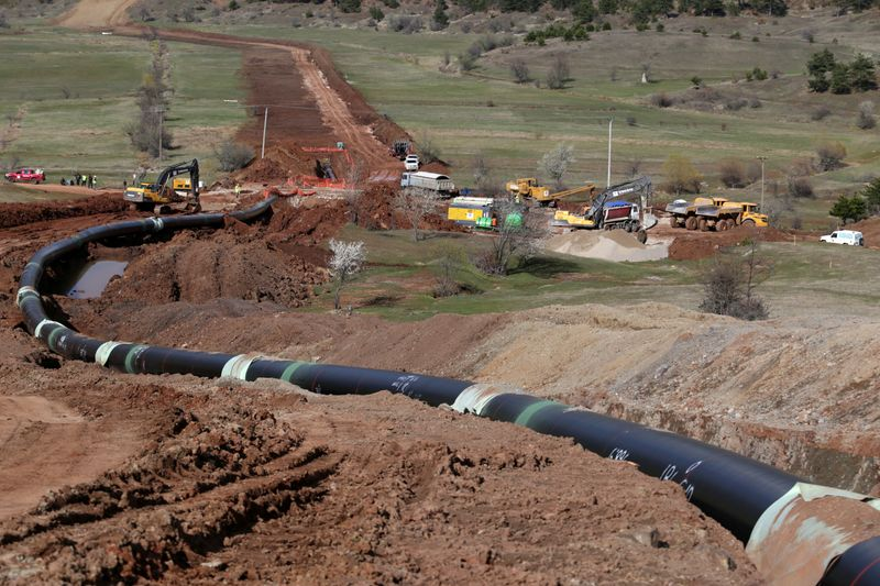 © Reuters. Una parte del gasdotto Trans Adriatic Pipeline (Tap) a Gjanc
