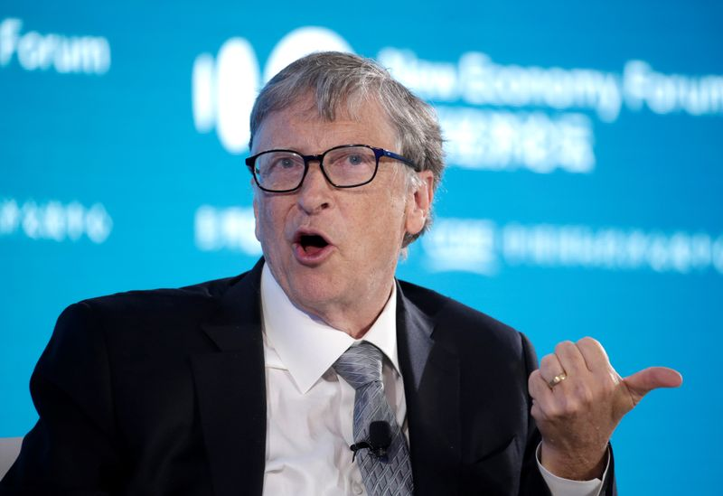 © Reuters. Bill Gates, Co-Chair of Bill & Melinda Gates Foundation, attends a conversation at the 2019 New Economy Forum in Beijing