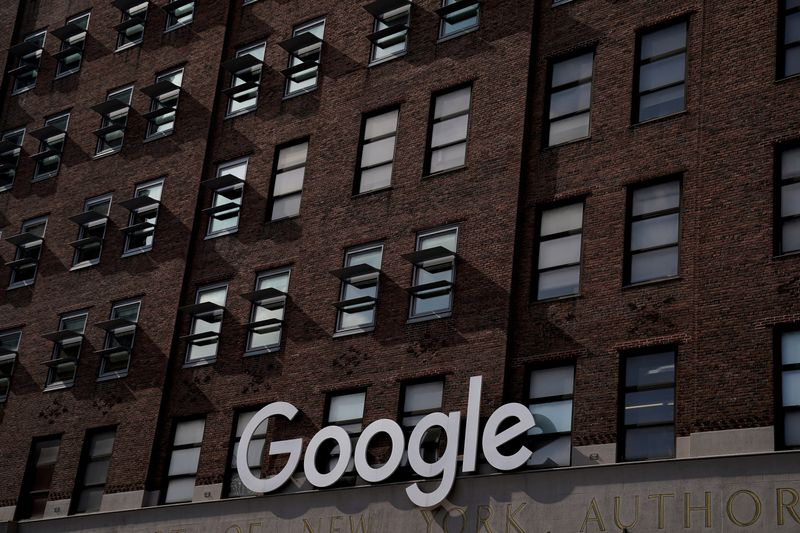 © Reuters. FILE PHOTO: A Google sign is pictured on a Google building