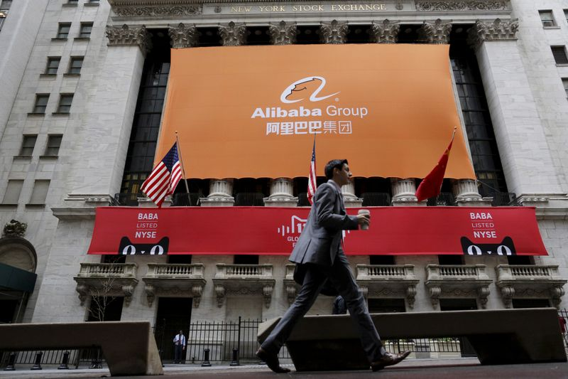 © Reuters. FILE PHOTO: Signage for Alibaba Group Holding Ltd. covers the front facade of the New York Stock Exchange