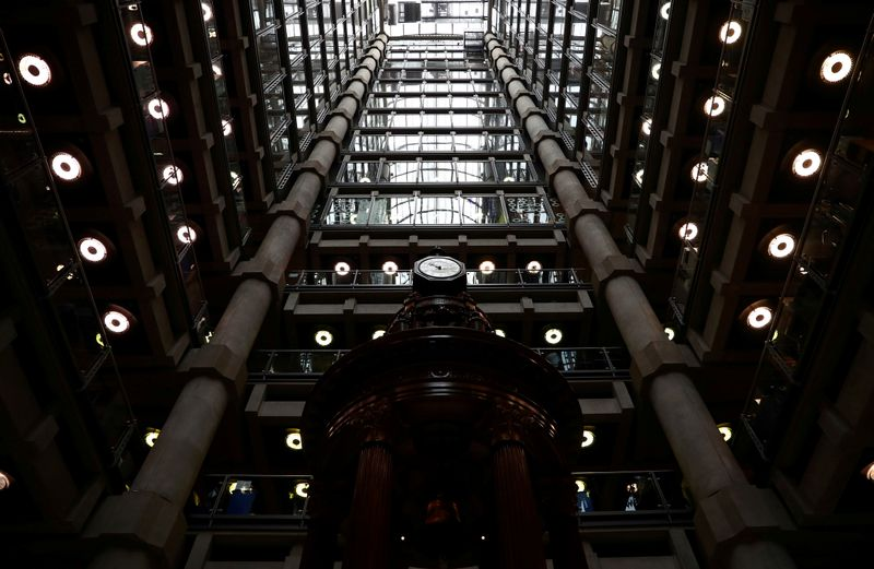 © Reuters. FILE PHOTO: Interior of the Lloyd's of London building is seen in the City of London financial district
