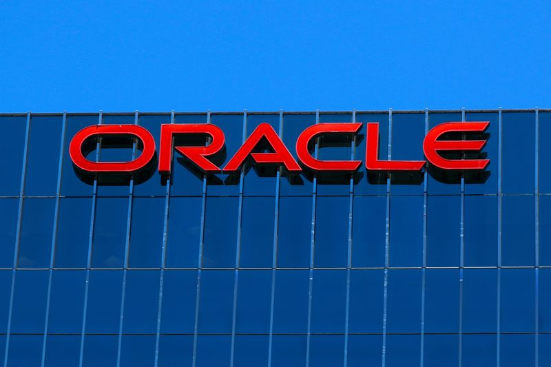 © Reuters. The Oracle logo is shown on an office building in Irvine, California