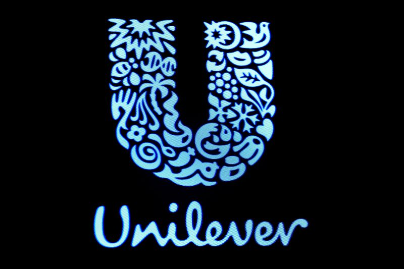 © Reuters. FILE PHOTO: The company logo for Unilever is displayed on a screen on the floor of the NYSE