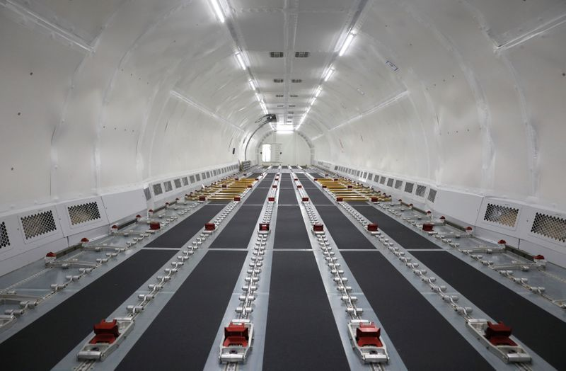© Reuters. View of the interior of a fully converted Airbus A321 freighter at an ST Engineering hangar in Singapore