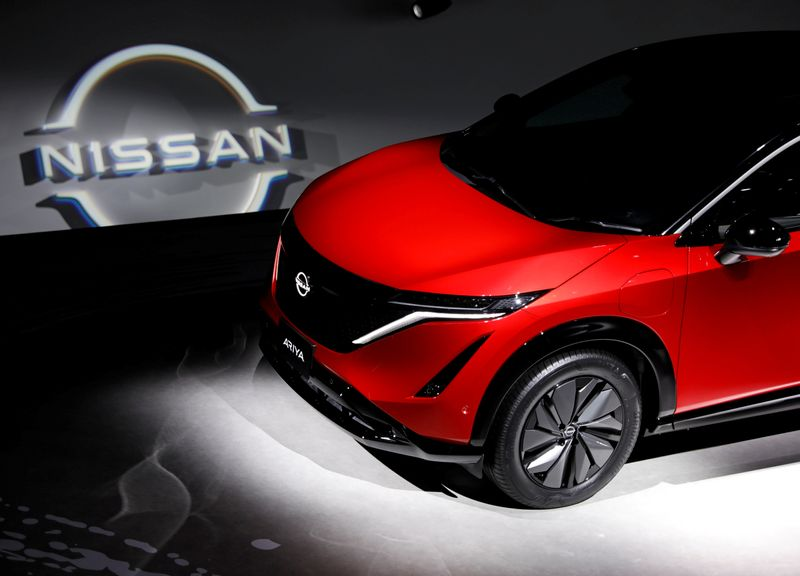 © Reuters.  FOTO DE ARCHIVO: Nissan Motor Corp.  muestra su nuevo SUV Ariya totalmente a batería durante una vista previa de prensa en Yokohama